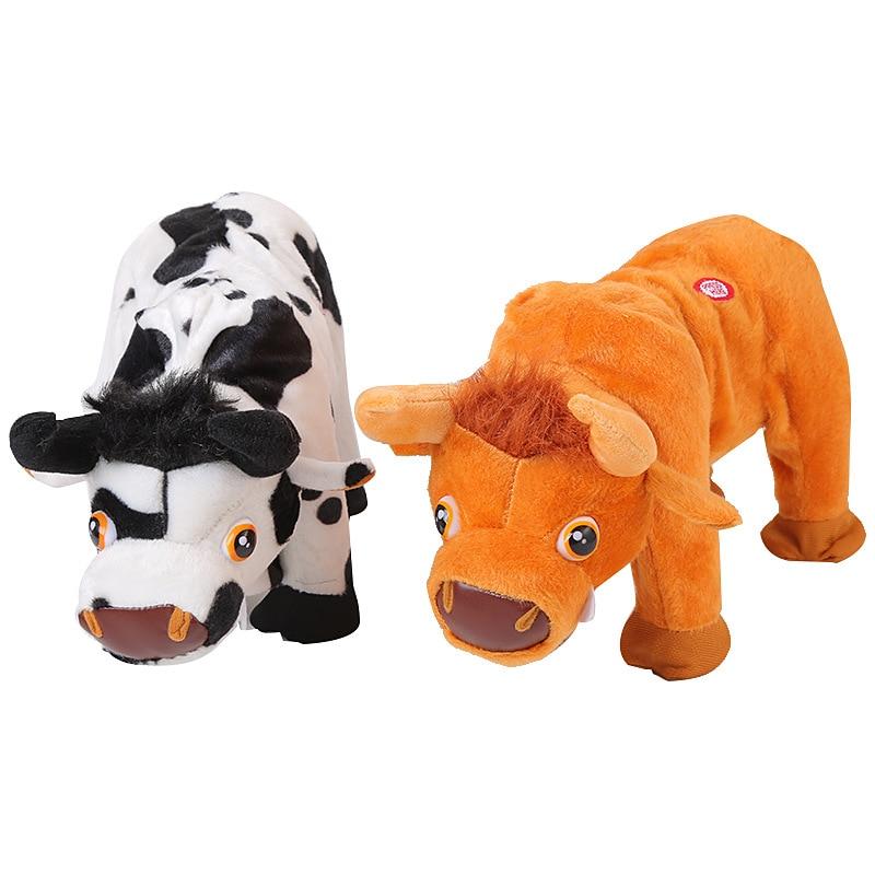 AliExpress New Style Brazil Bull Electric Plush Toys Walk Little Donkey Walk Cow Parroting Recording