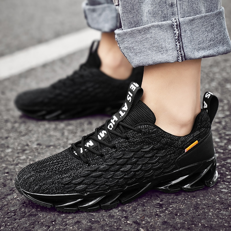 Zapatillas deportivas transpirables para hombre, zapatos informales de malla, cómodos, con hoja...