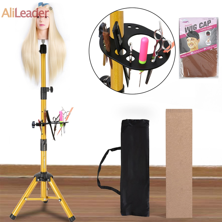 1pcs blue color hair salon adjustable aluminum tripod stand mannequin training head holder wig stand clamp AliLeader Golden Color Aluminum Alloy Mannequin Training wig Head holder Tripod Adjustable Tripod Wig Stands Holder Clamp