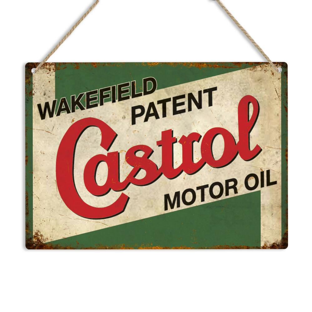 CASTROL-placa de Metal Vintage para coche de signo de aceite de MOTOR...