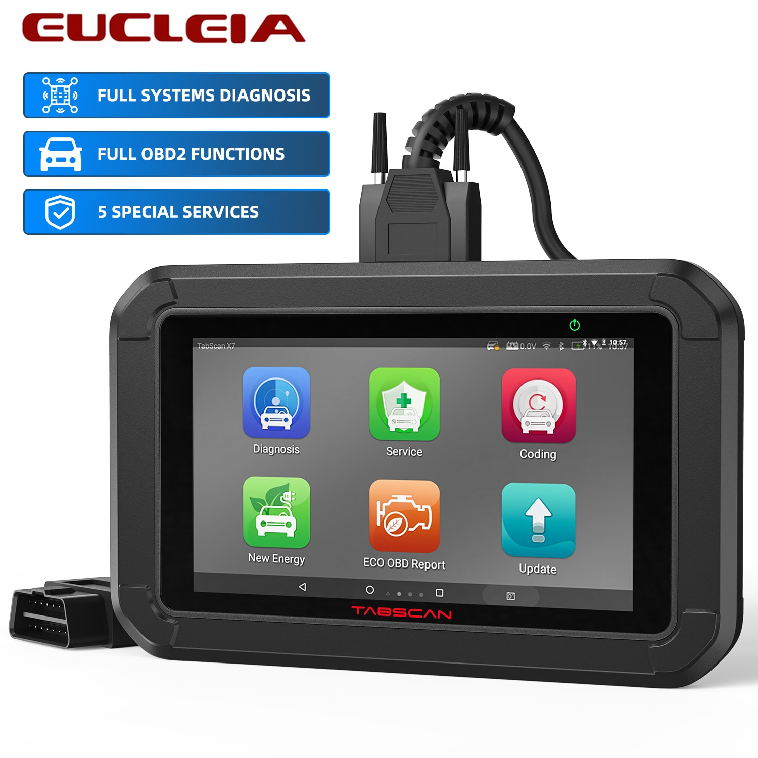 EUCLEIA Tabscan X7 Professional OBD2 Diagnostic Scanner Full System Oil SAS BMS EPB TPS Reset OBD 2 Automotive Tools Free Update