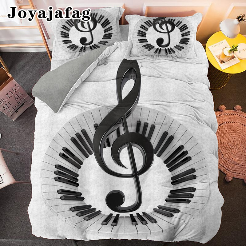 Piano Keyboard Bedding Set Single Double King Queen Size Comforter Cover With Pillowcase Musical Note Soft Fabric Duvet Covers