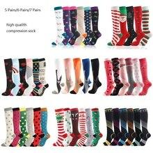 Compression Socks Women Men 5/6/7 Pairs Running Athletic Outdoor Sports Sock Flight Travel Nurses Ru