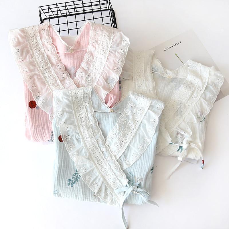 Fdfklak Spring Autumn New Cotton Nightie For Feeding Pink/Blue Print Maternity Pajamas Clothes For Nursing Mothers enlarge