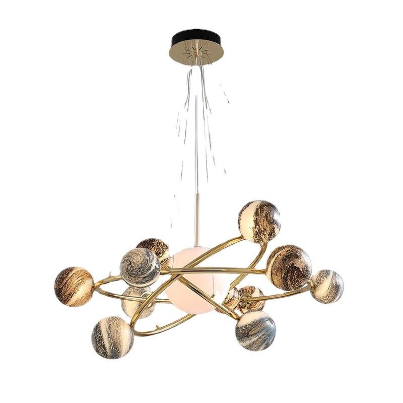 ما بعد الحداثة الذهب اللون قلادة أضواء ضوء led شنق مصباح لوفت ديكور مصابيح تركيبات إضاءة