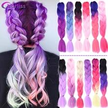 Chorliss Long  Jumbo Braids Ombre Braiding Hair Dark Blonde Brown PInk Purple Synthetic Hair Extensions Crochet Braids 100g/pack
