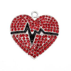 10pcs/lot  Fashion Jewelry Rhinestone  Heart Shape With ECG Pendant For Necklace