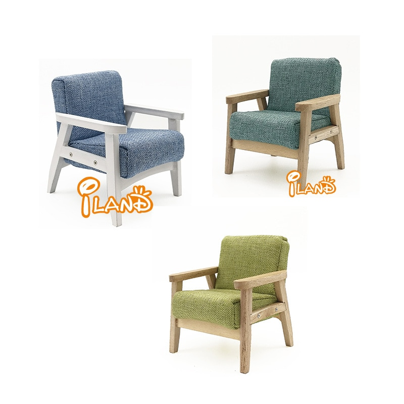 1 12 casa de muñecas, casa de muñecas, Mini muebles, sillón de estilo japonés, sofá individual de madera