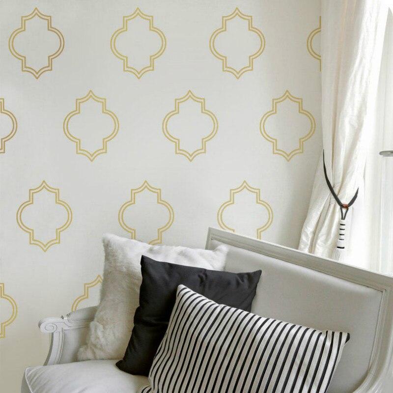 Calcomanías de pared dorada marroquí, calcomanías de decoración para sala de estar pared dorada, calcomanías para dormitorio, decoración dorada, pegatina dorada para mejorar el hogar