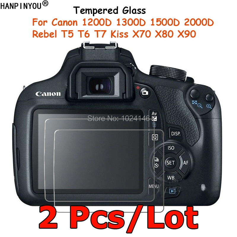 2 шт./партия для Canon 1200D 1300D 1500D 2000D Rebel T5 T6 T7 поцелуй X70 X80 X9 закаленное Стекло Экран протектор Защитная пленка