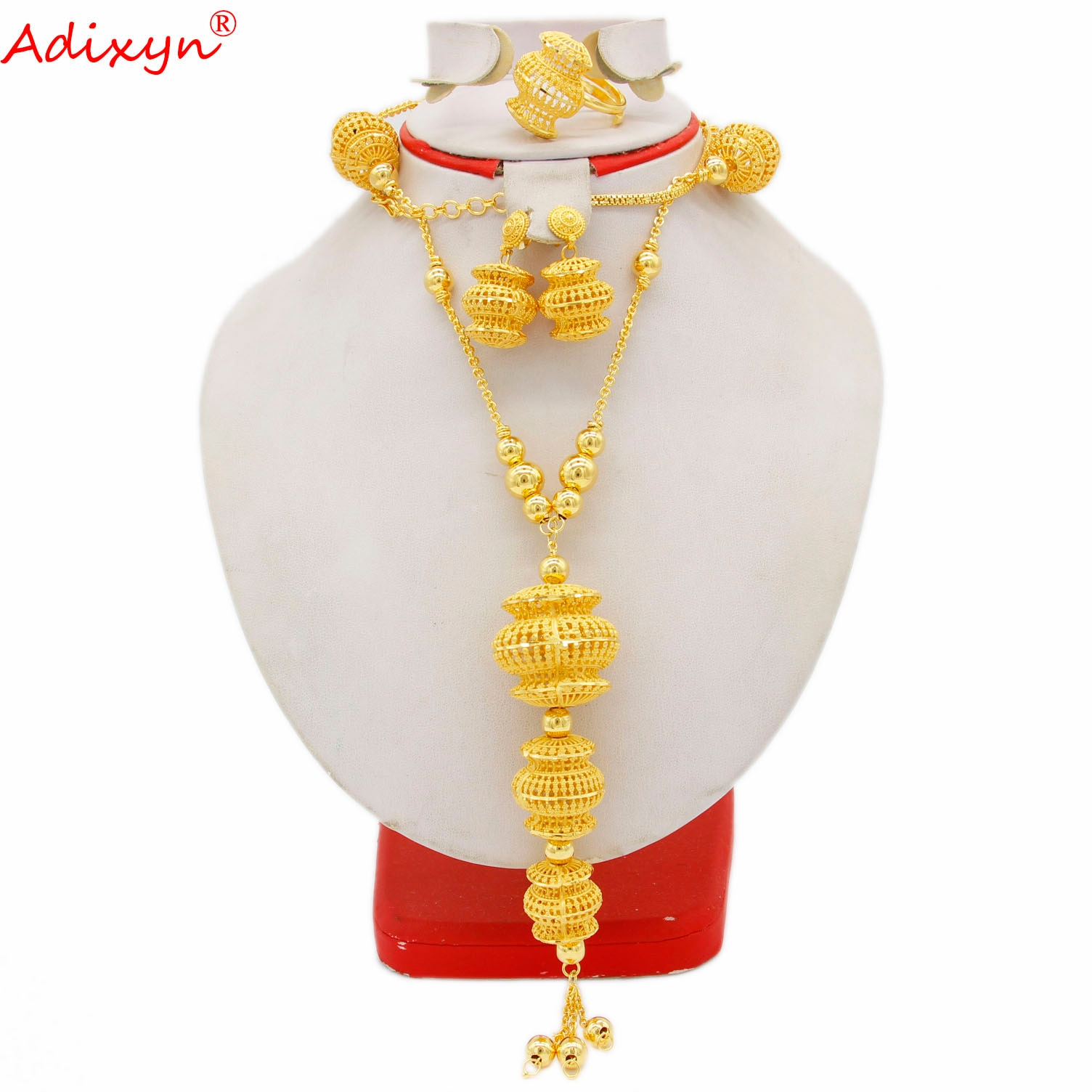 Review Adixyn Dubai 24K Gold Color Jewelry sets for Women Inidan Necklace Earrings Ring Set Bridal Wedding Gifts N082811