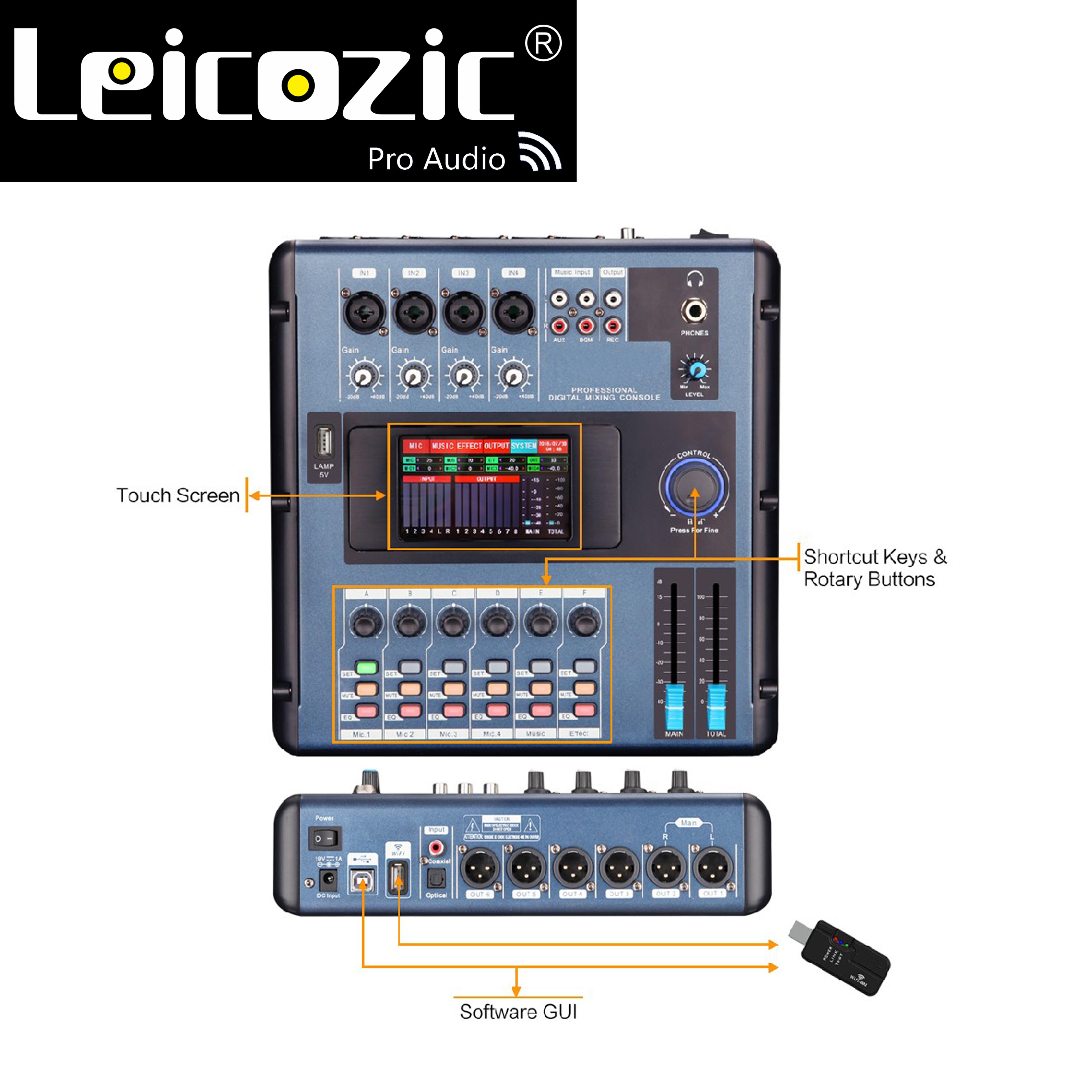 خلاط رقمي صغير Leicozic MD200 يربط بالكمبيوتر عن طريق WIFI أو USB شاشة وحدة التحكم الرقمية للخلط قابلة للمس للالعصابات والحفلات الموسيقية والحفلات