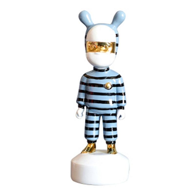 Figuras abstractas de animales de rayas modernas simples, adorables figuras de elfo de dibujos animados, decoración artística de resina para el hogar, accesorios A970