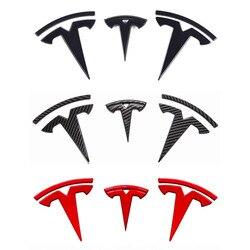 Para tesla model 3 logotipo dianteiro volante logotipo traseiro adesivo de fibra carbono abs modelo 3 dianteira do carro traseiro adesivo acessórios
