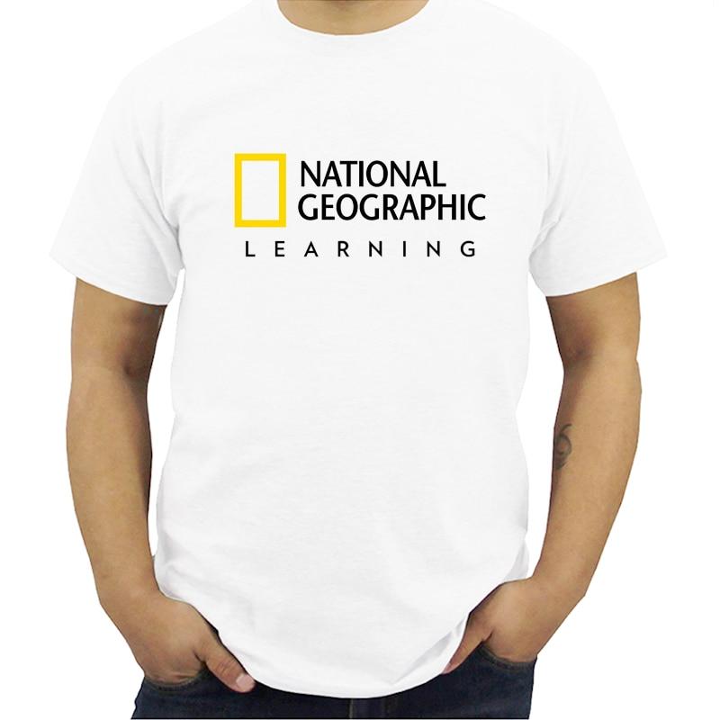 Новинка, Национальный географический логотип, короткий рукав, Мужская белая рубашка, мужские Модальные футболки, летняя брендовая футболка...
