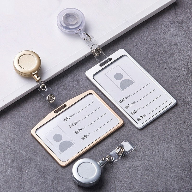 1 Set Aluminum Alloy Card Holder with ABS Retractable Badge Reel Pull ID Card Badge Holder Nurse Badge Lanyards School Supplies