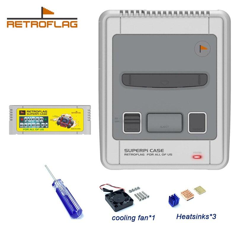 Чехол Retroflag SUPERPi чехол-J NESPi чехол для Raspberry Pi 3B Plus (3B +)/ Raspberry Pi4 безопасное отключение и безопасный игровой чехол с сбросом чехол