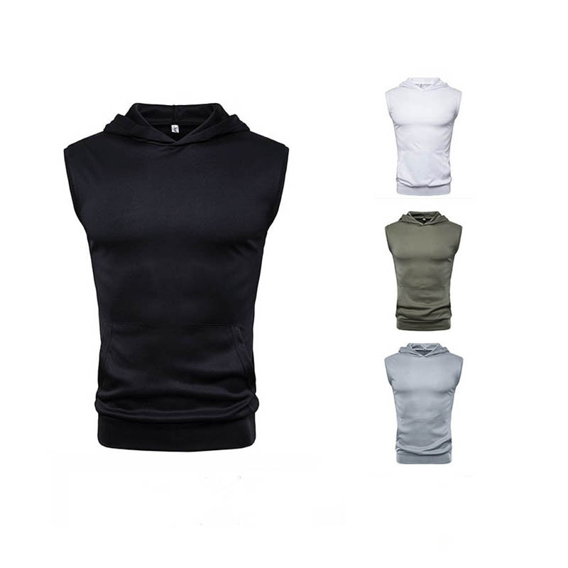 Chaleco de verano para hombre, sin mangas con capucha, Color sólido, chaqueta deportiva ajustada, Fitness, musculoso, sudadera de Culturismo