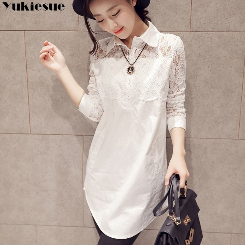Casual Loose Women Shirts 2020 Spring New Fashion Plus Size Blouse Long Sleeve lace Buttons White Sh
