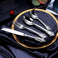 european style stainless steel cutlery set hotel restaurant home knife fork spoon suit gold and silver dessert steak cutlery