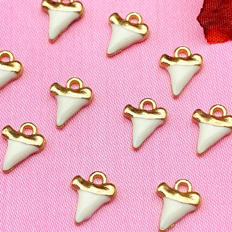 10Pcs Golden Alloy Metal Teeth Shape Small Charms Pendant For DIY Necklace Earring Handmade Jewelry Making Accessories Wholesale недорого