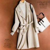 autumn winter overcoat women 100 merino wool long sleeve warm ladies 2021 new fashion wool long jacket thick warm long coat