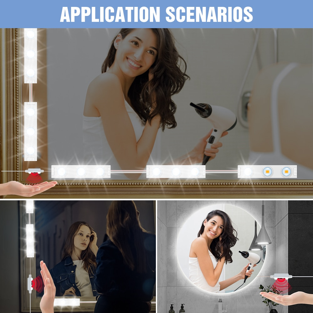 USB Hollywood Hand Sweep Sensor Dimmable Makeup Lamp Mirror Light LED 5V Bedside Lamp Dressing Table Beauty 2 6 10 14 Modules