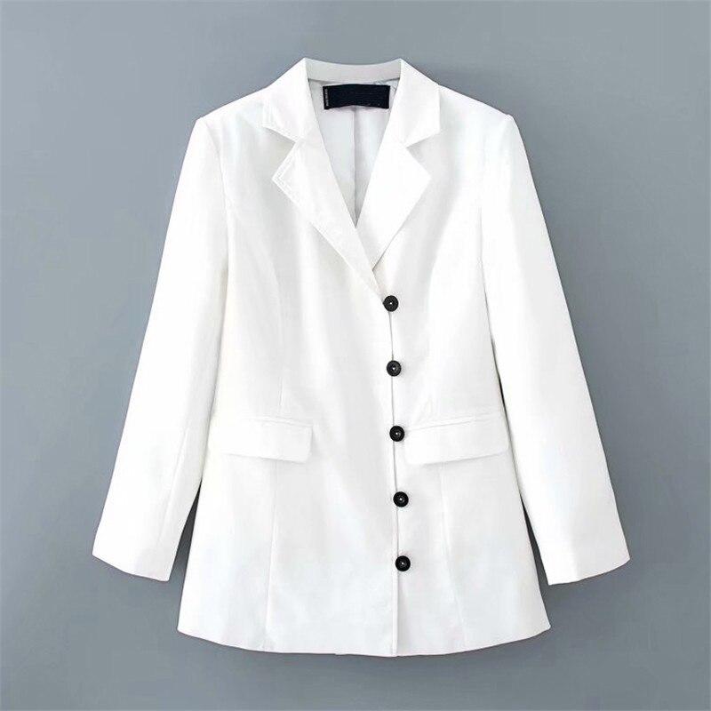 Cor branca terno blazer jaqueta feminina moda manga longa casaco feminino elegante único botão jaqueta ternos feminino senhoras