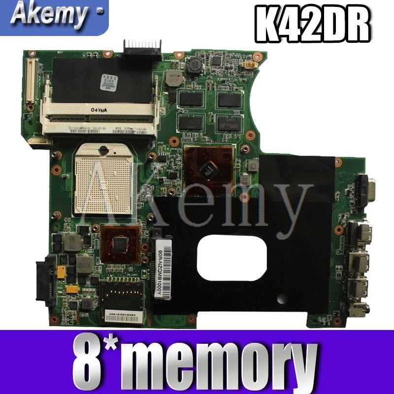 Akemy لـ For Asus K42DY A42D X42D K42DR K42D K42DE Loptop اللوحة الرئيسية Mainboard مع بطاقة الفيديو 8 * ذاكرة اختبار 100% العمل