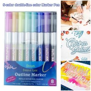 8 Colors Metallic Double Lines Doodle Art Drawing Markers Outline Pen Set DU55