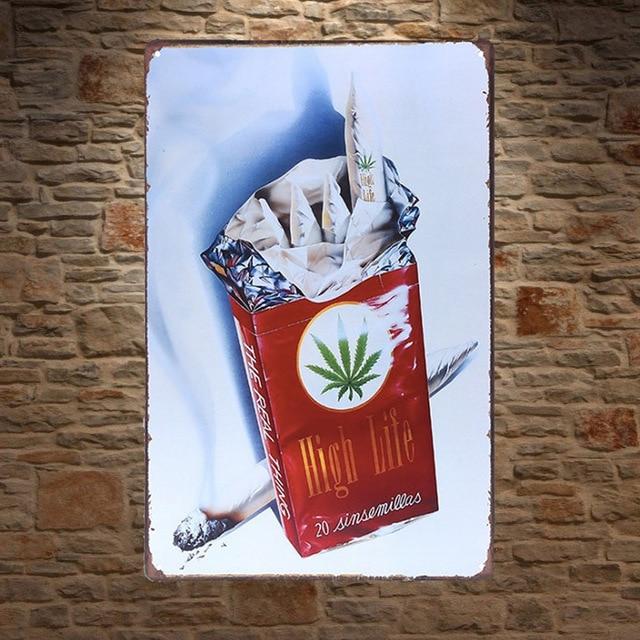 1 pc Marijuana smoke smoking joint weed garage Tin Plate Sign wall plaques man cave Decoration vintage Poster metal
