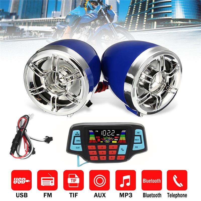 Motorcycle Bluetooth Audio System FM Radio Stereo Speaker SD TF USB MP3 Player Handsfree Moto Anti-theft Device Display Screen