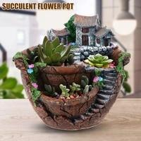 Jardiniere de jardin feerique  Pots de plantes de fleurs avec maison douce  Design Unique pour la decoration de la maison  REME889