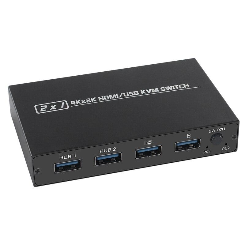 HDMI KVM الجلاد ، 2-Port لوحة مفاتيح بمنفذ Usb الماوس وتبادل الطابعة 4K @ 30Hz ، ومناسبة للمكتب/غرفة الحاسب
