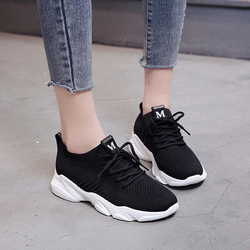 Женская спортивная обувь, дышащая вязаная повседневная обувь, весенняя женская обувь на шнуровке, Женская Вулканизированная обувь, кроссов...