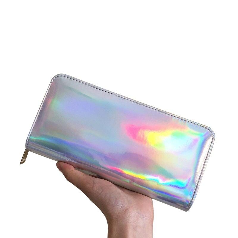 30 unids/lote monedero con hologramas para mujeres bolso de mano largo para mujer bolso de láser para mujer monedero con cremallera para chicas soporte de identificación para teléfono para mujeres