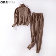 Automne hiver chaud laine tricot survêtement pour les femmes col roulé pull pull + pantalon femme pantalon costume décontracté deux pièces ensemble