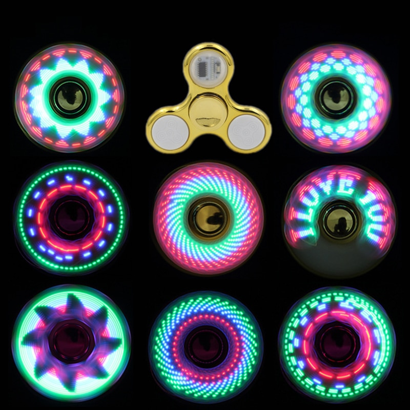 Changes Hand Spinner Golw in the Dark Stress Relief Toys For Kids 6colors Creative LED Light Luminous Fidget Spinner