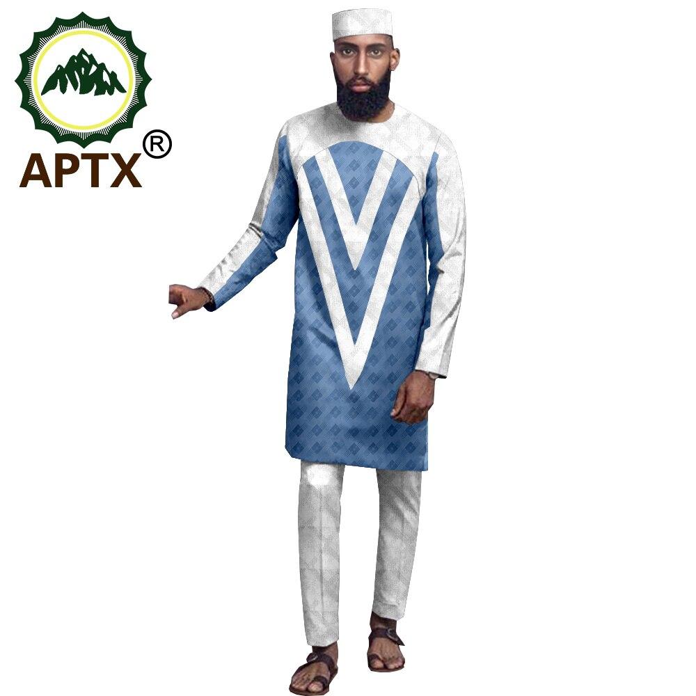 بدلة جاكار أفريقية من 3 قطع للرجال ، توب بأكمام طويلة وسراويل طويلة وغطاء علوي مسطح ، 2021 ، T2016022