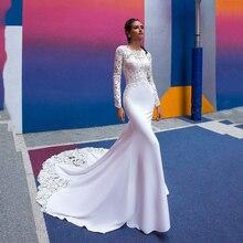 SoDigne sirena vestido de novia de manga larga de 2020 Vestidos de novia Encaje Vintage Boho vestido de novia on espalda descubierta Vestidos de boda
