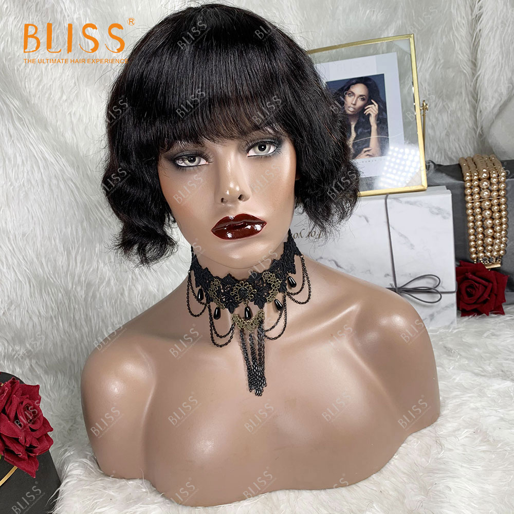 bliss onda do corpo perucas pixie corte glueless curto bob ondulado peruca de cabelo