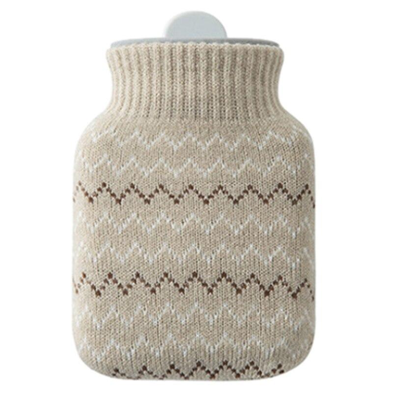 Botella térmica bolsa de agua caliente de silicona ambiental con cubierta tejida, Navidad, Día de San Valentín, fiesta de intercambio de regalo