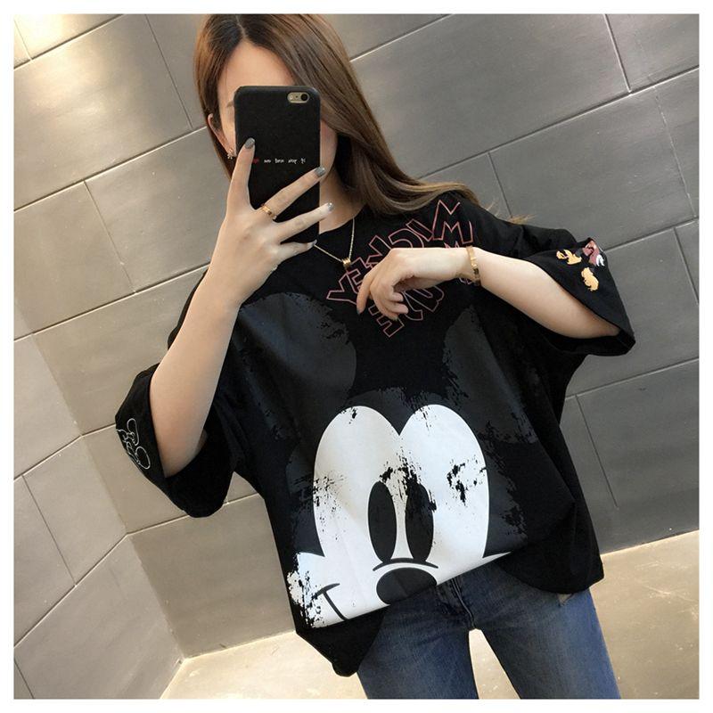 Verano 2020, ropa de calle holgada de media manga negra con estampado de algodón, camiseta de dibujos animados de Mickey, punk vegano, talla Pokemon