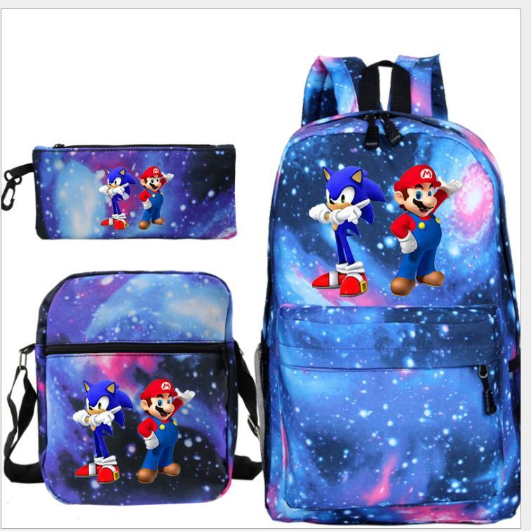 Conjunto de 3 unidades, Mochila Sonic Mochila De Super Mario, estuche de lápices, Bolsa Escolar, bolsa de viaje de Anime para chicas adolescentes, bolsa A Dos