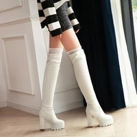 over the knee boot women shoes fashion black womens high boots 2020 platform high heels pu leather autumn winter shoes ladies