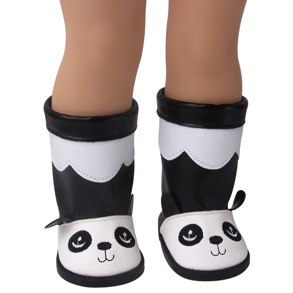 2021 New Fit 17 inch 43cm Baby New Born Doll Shoes Accessories Panda Boots Shoes For Baby Birthday Gift недорого