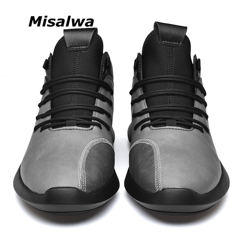 Misalwa Spring / Winter Casual PU Leather Men Sneakers Grey Black White Cushion Comfortable Man Footwear Young Men Leisure Shoes