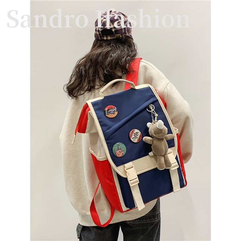 Фото - The bag is natural high school junior high school students high school backpack backpack capacity 2021 four piece set primary school students grade 3 6 junior high school students color contrast backpack hand bag fashion