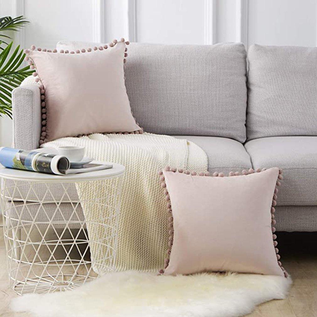 Camiseta nueva Fundas De Almohada decorativas con pompones partículas suaves de terciopelo Fundas de cojín sólidas para sofá dormitorio coche 2 paquetes