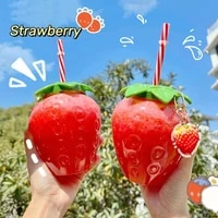 ins cute strawberry cup with straw drink pineapple strawberry plastic water bottle water bottle children girl portable cold drin